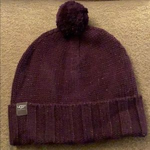Ugg Australia plum colored beanie with pom
